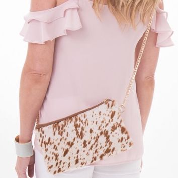 Brio P Brown Spotted Cowhide Crossbody Clutch