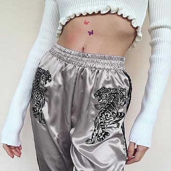 Fashion Winter Patchwork High Waist Skinny Pants Silk Tiger Trouser Pink Silver