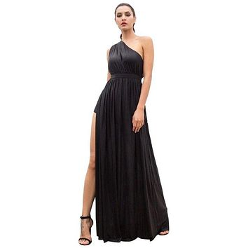 Black One-Shoulder Cut Out Type A Flash Fabric Long Dress