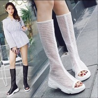 Women Casual Platform Open Toe High Wedge Sandal Boot