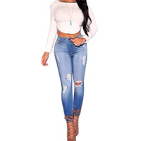 2016 New Fashion Women Pants,Plus Size Stretch Skinny High Waist Jeans Pants Women Blue Pencil Casual Slim denim Pants