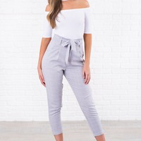 My Darling Pleated Cropped Pants (Grey)