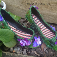 Flower Faery Nymph-ish FAERIE SHOES from Faeryland OOAK size 6 purple ladies ready-made!
