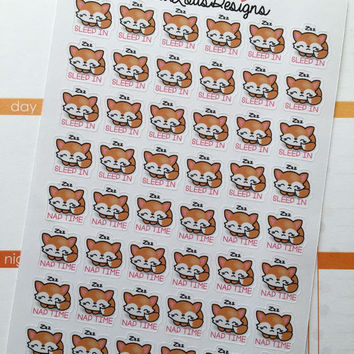 """Life planner little fox """"Sleep in and Naptime """" stickers"""