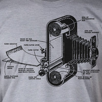 Vintage Antique Film Camera Printed on a New Screen Printed T-Shirt Mens Ladies Womens Youth Kids Funny Photography Camera Geek