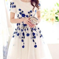 White Organza Floral Dress