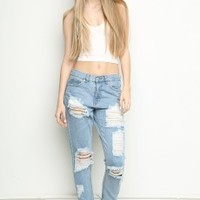DESTROYED BOYFRIEND DENIM
