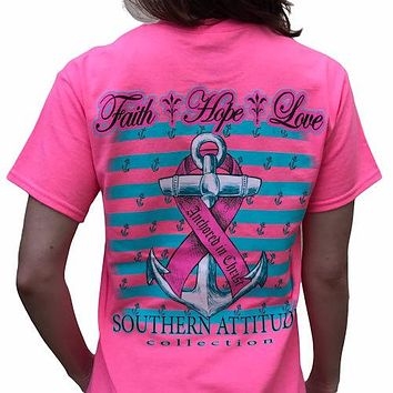 Southern Attitude Faith Hope Anchor Breast Cancer Pink T-Shirt