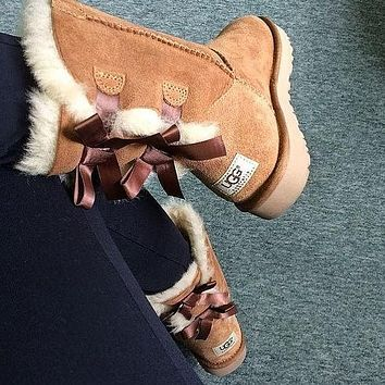 UGG Fashion Winter Women Cute Bowknot Flat Warm Snow Ankle Boots-15