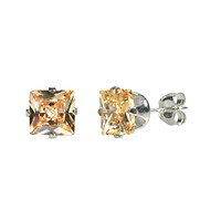 Square Champagne CZ Stud Earrings Silver Princess Cut Prong