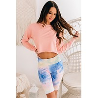 Adventuring Out Cropped Crewneck Top (Blush Pink)