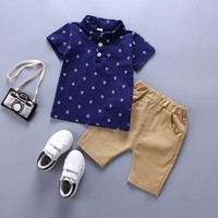 Summer Two Piece Anchor Print Boys Summer Outfits