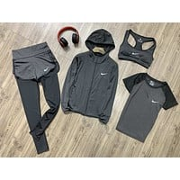 Nike Popular Women Comfortable Sports Yoga Vest Coat Top Pants Set Four-Piece Sportswear Grey