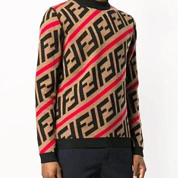 FENDI Retro Popular Men Women Simple F Letter Knit Sweater Top Sweatshirt