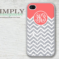 Personalized iphone 4 case - iphone 4s case - plastic or silicone rubber -  coral and glittery chevron monogram  ( NOT ACTUAL GLITTER )