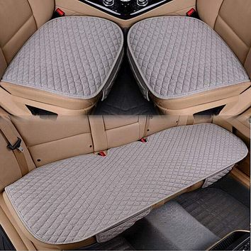 Flax Car Seat Cover Four Seasons Front Rear Linen Fabric Cushion Breathable Protector Mat Pad Auto accessories Universal Size