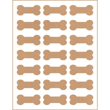 105 Printable Dog Bone Labels, Kraft