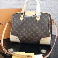 LV Louis Vuitton Vintage Casual Large Capacity Textured Print Shoulder Messenger Bag Tote