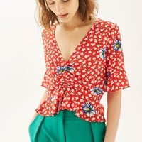 Red Floral Ruched Front Top | Topshop