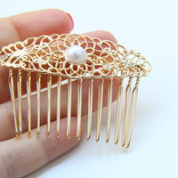 gold plated lace Bridal hair comb with a pearl  by TheUrbanLady