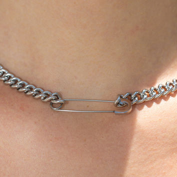 Silver Safety Pin Chain Choker - Accessories