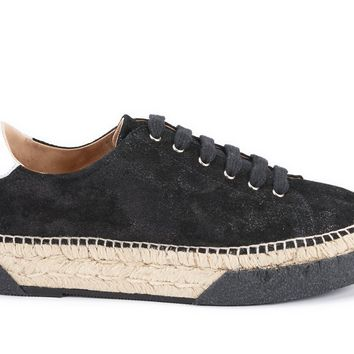 Vigata Leather Lace-up Platform Espadrilles - Black Sheen