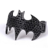 Batman Bracelet Cuff Black Rhinestones Batman Open-end Cuff Bracelet