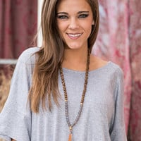 Around Town Necklace, Brown-Gray