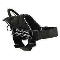 DT Fun Works Harness, Emotional Support Animal, Black With Reflective Trim, XX-Small - Fits Girth Size: 18-Inch to 22-Inch