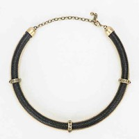 Leather Collar Necklace- Gold One