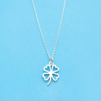 Sterling silver, Clover, Necklace, Lovely, Luck, Flower, Necklace