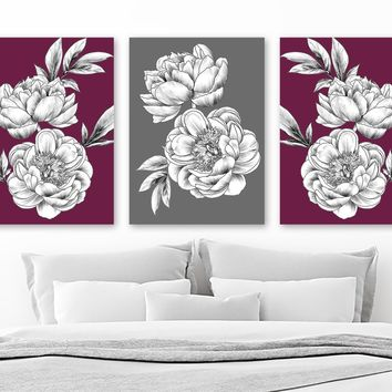 Maroon Gray Peony Flower Wall Art, Peony Flower Canvas or Print Black White Flowers Bedroom Wall Decor, Flower Bathroom Decor, Set of 3