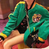 """Gucci"" Women Casual Fashion Letter Multicolor Embroidery Tiger Head Cardigan Long Sleeve Cotton-padded Clothes Corduroy Coat"