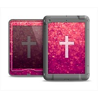 The Vector White Cross v2 over Unfocused Pink Glimmer Apple iPad Air LifeProof Nuud Case Skin Set