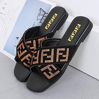 FENDI Newest Hot Sale Women Casual Flat Sole Sandal Slipper Shoes Black/Golden