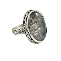 Rutilated Smoky Quartz Grey Filigree Sterling Silver Ring