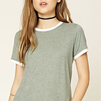 Heathered Knit Ringer Tee