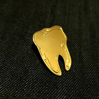 Lucky Gold Tooth Metal Enamel Pin Badge