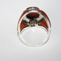 Vintage Sterling Carnelian Ring Native American Signed MRF 1950s  Jewelry