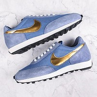 Nike Daybreak Waffle Retro Casual Jogging Shoes Blue(gold hook)