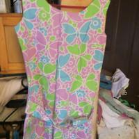 Vtg 50s 60s Floral fine  Cotton Pin Up BOMBSHELL  Romper Onesuit Micro Mini Dress Romper  with belt  NEW vintage sz 14