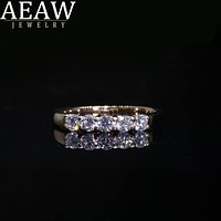 AEAW 18k Gold 0.1ct 3mm Total 0.5ctw DF Round Cut Engagement & Wedding Moissanite Lab Grown Diamond Band Ring for Women