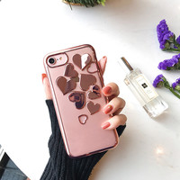 3D Plating Heart Case for iPhone7 7plus Silver/Rose/Gold LOVE Heart Coques for iPhone 6 6s 6plus 6splus Clear Cover -0402