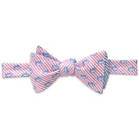 Two Color Skipjack Seersucker Bow Tie in Pink and Ocean Channel by Southern Tide