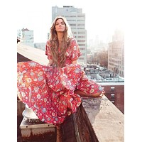 """Bohemian Maxi Dress """"Lovebird"""" Half Moon Long Floral Gown Deep V Front & Back Tassel Ties Sizes Small Medium Or Large"""