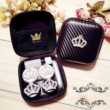 2Paris Contact Lens Case Mirror Crystal Crown Design Travel Lenses Box Contianer For Contact Lens Christmas Gift For Girlfriend