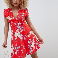 Glamorous Petite Mini Dress With Tie Waist In Heron Print at asos.com