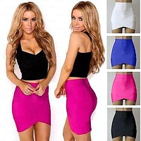 Solid Color HOT Vintage Women Stretch High Waist Skirt Solid Plain Skater Flared Pleated Skirt