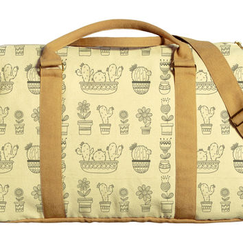 Sketch Cactus Printed Oversized Canvas Duffle Luggage Travel Bag WAS_42