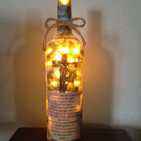 The Lord's Prayer wine bottle lamp